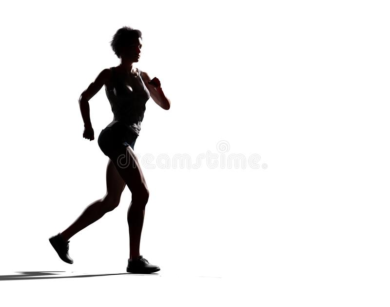 Mulher muscular que corre na frente do fundo branco imagem de stock royalty free
