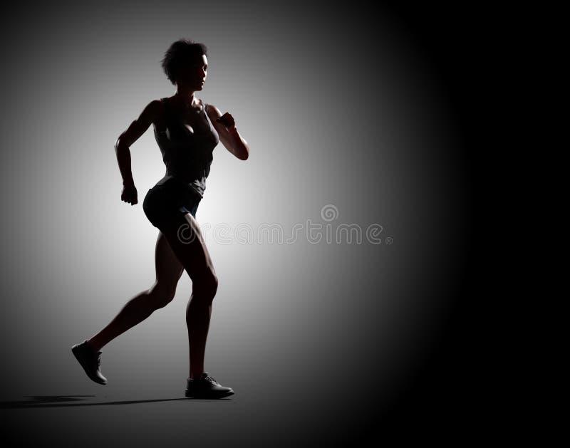 Mulher muscular que corre a silhueta dramática da iluminação imagem de stock