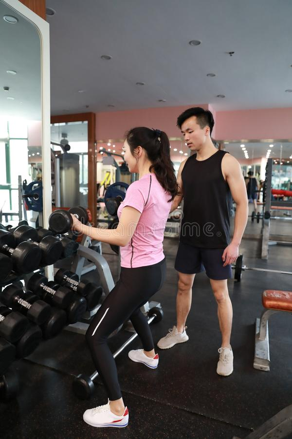 Mulher muscular que dá certo no gym que faz exercícios com pesos nos bíceps, Abs despido masculino forte do torso fotos de stock royalty free
