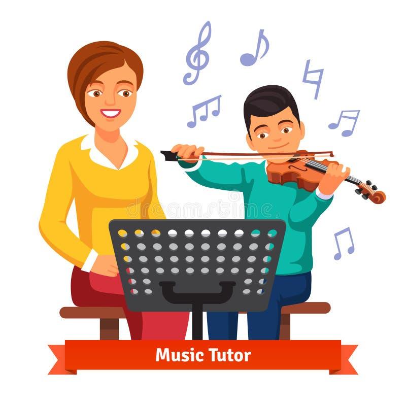 Mulher musical do tutor com o estudante do violino do menino da criança ilustração royalty free