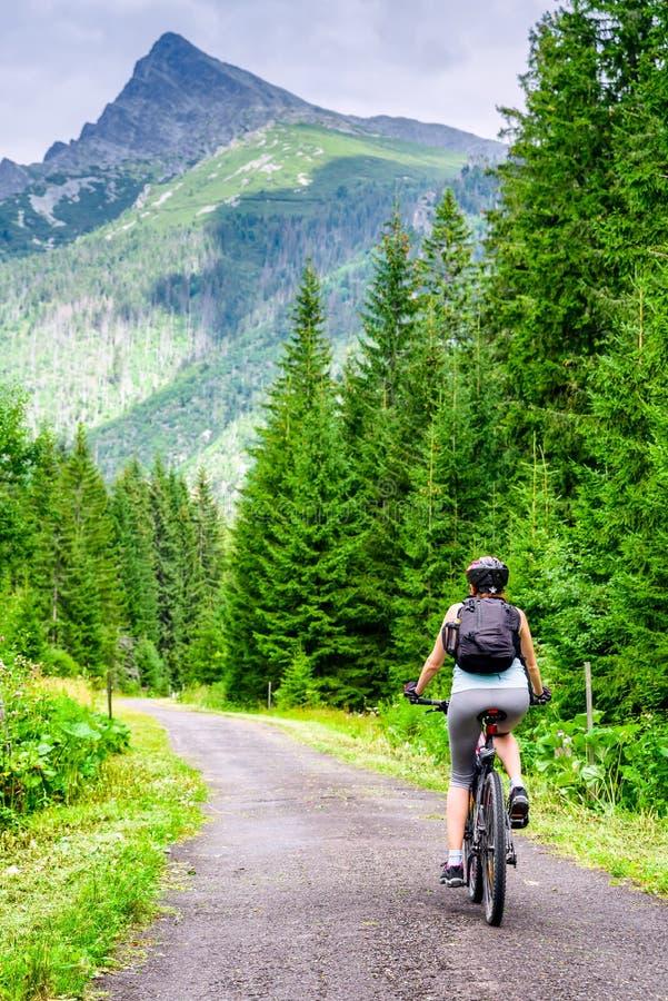 Mulher na bicicleta em montanhas altas de Tatras, Eslováquia de MTB fotos de stock royalty free