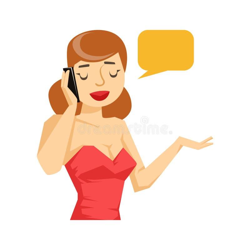 Mulher na blusa vermelha que conversa em Smartphone, parte dos povos que falam na série do telefone celular ilustração royalty free
