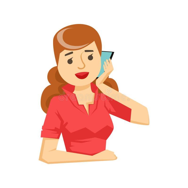 Mulher na blusa vermelha que conversa em Smartphone, parte dos povos que falam na série do telefone celular ilustração stock
