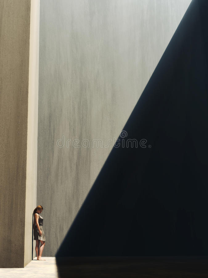 Mulher na borda de claro e da escuridão ilustração royalty free