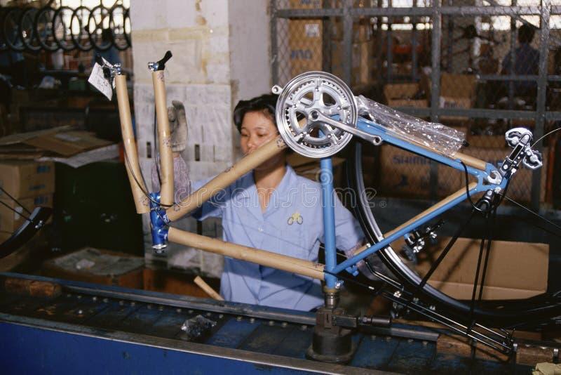 Mulher na cadeia de fabricação da fabricação imagens de stock royalty free