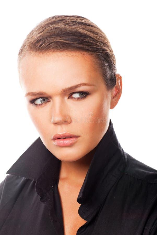 Mulher na camisa preta fotografia de stock