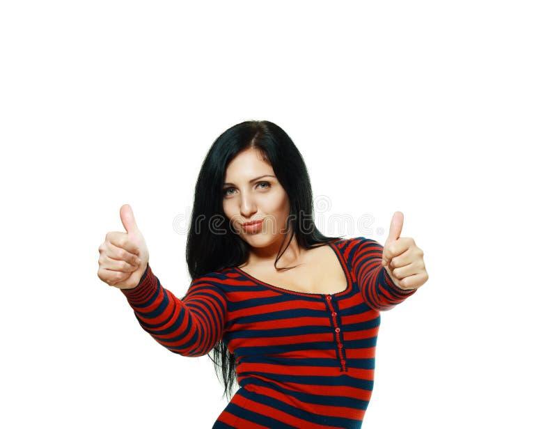Mulher na camisola que mostra está bem fotos de stock