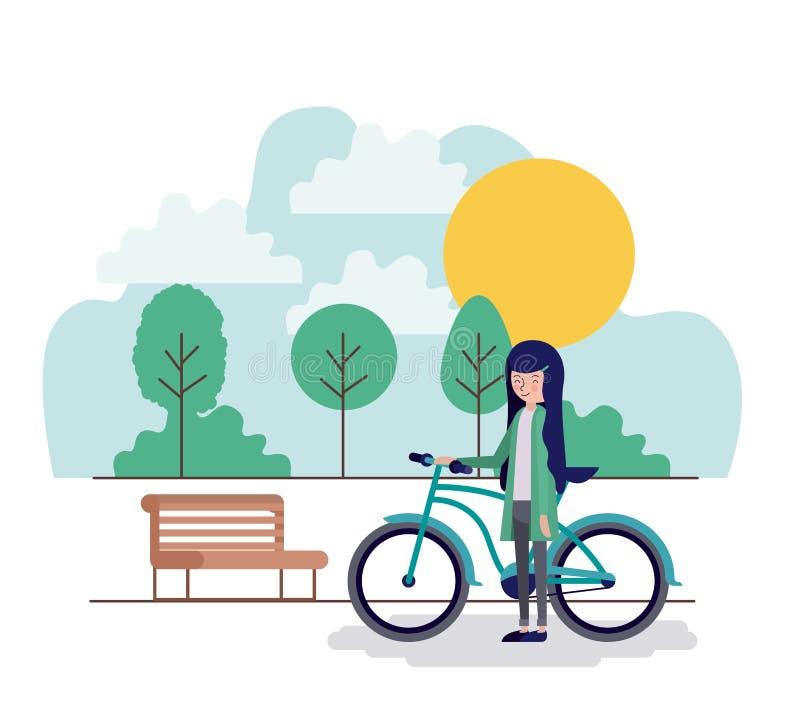 Mulher na cena do parque com cadeira e bicicleta ilustração stock