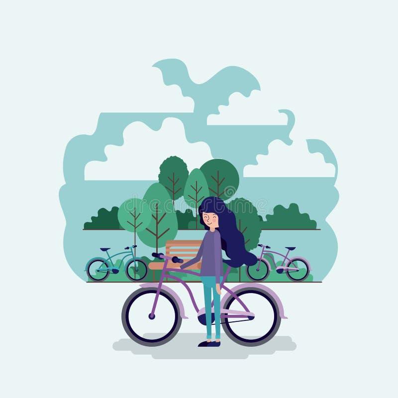 Mulher na cena do parque com cadeira e bicicleta ilustração do vetor