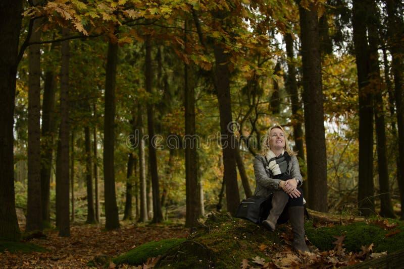 Mulher na floresta com cores do outono fotos de stock royalty free