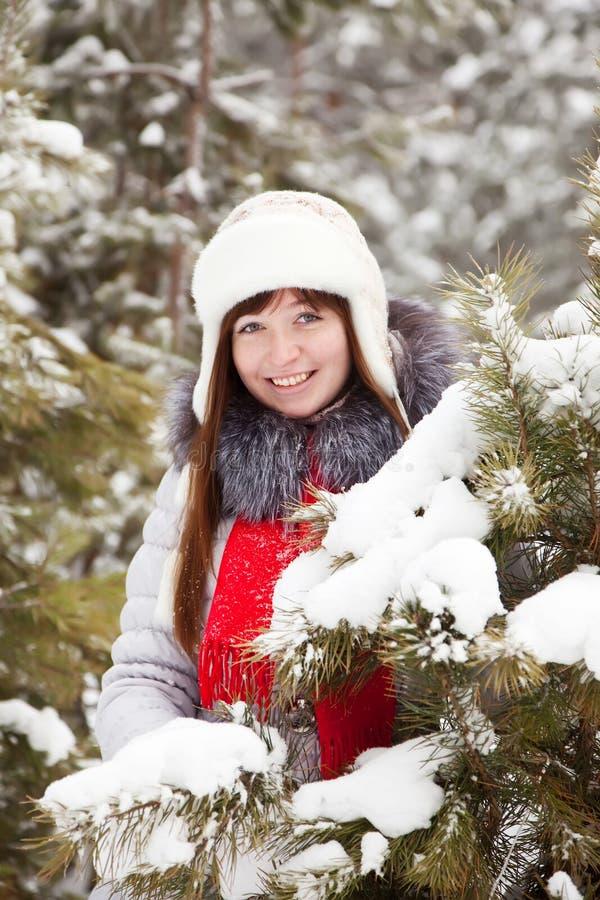 Mulher na floresta invernal do pinho foto de stock
