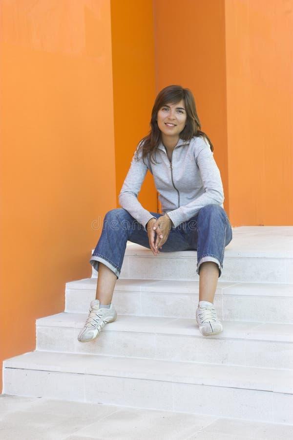 Mulher na laranja foto de stock royalty free