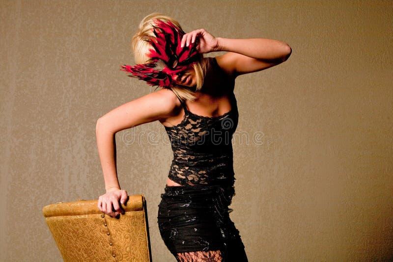 Mulher na máscara do carnaval imagens de stock