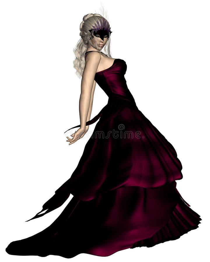 Mulher na máscara do carnaval e no vestido de esfera Venetian ilustração stock