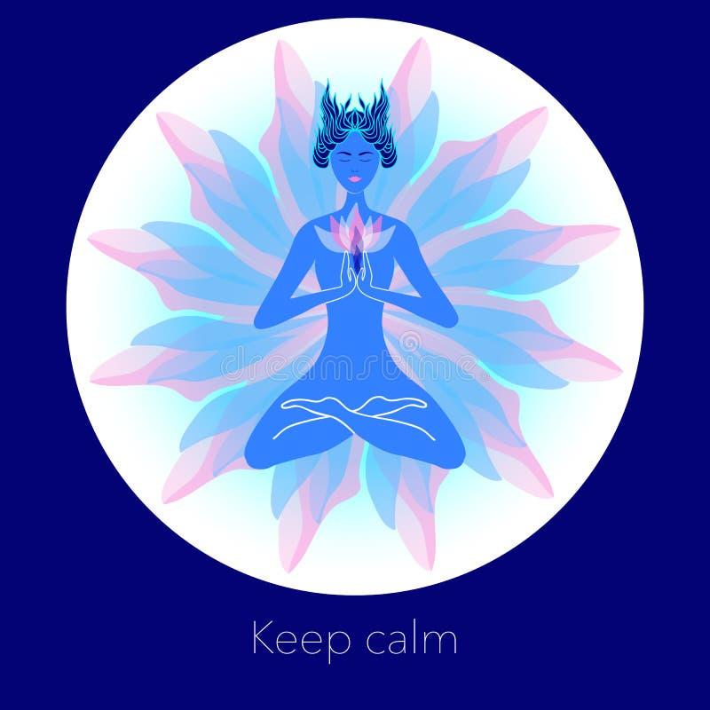 Download Mulher Na Meditação Ilustração Criativa Ilustração do Vetor - Ilustração de grunge, centro: 65575514