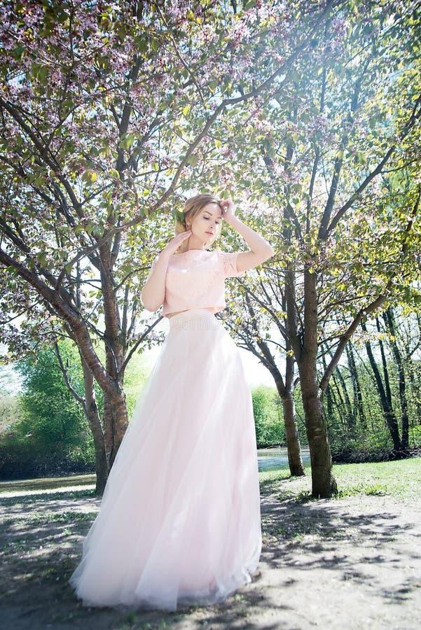 Mulher na mola no parque Fundo da flor de Sakura imagens de stock royalty free