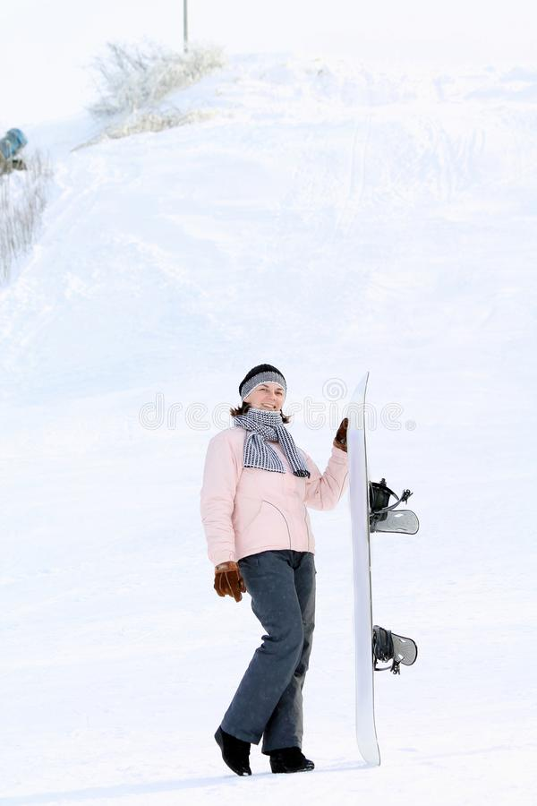 Mulher na neve foto de stock royalty free