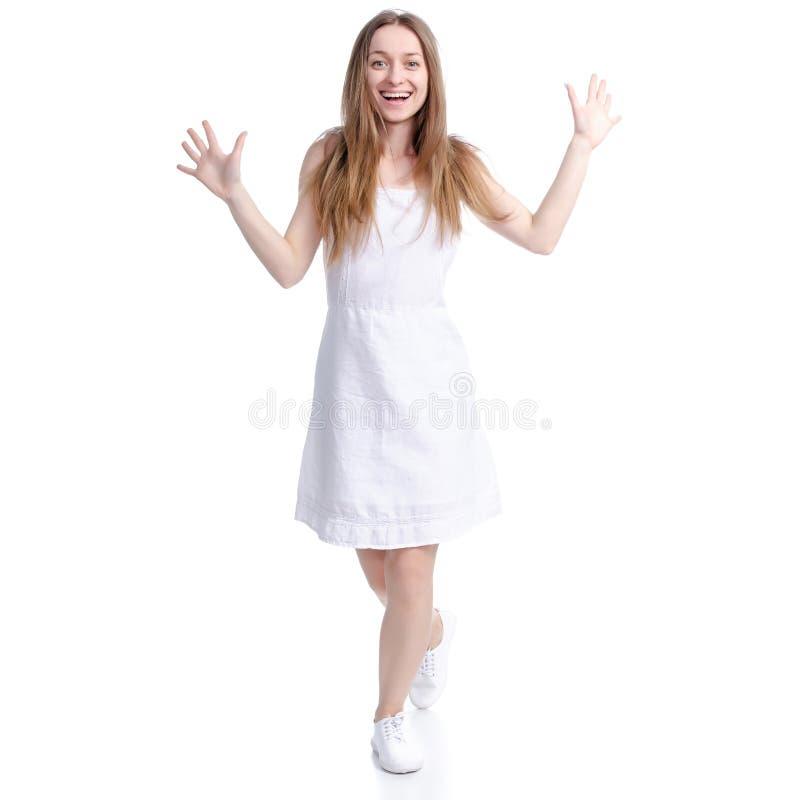 Mulher na posi??o branca do vestido que sorri olhando risos da felicidade fotos de stock royalty free