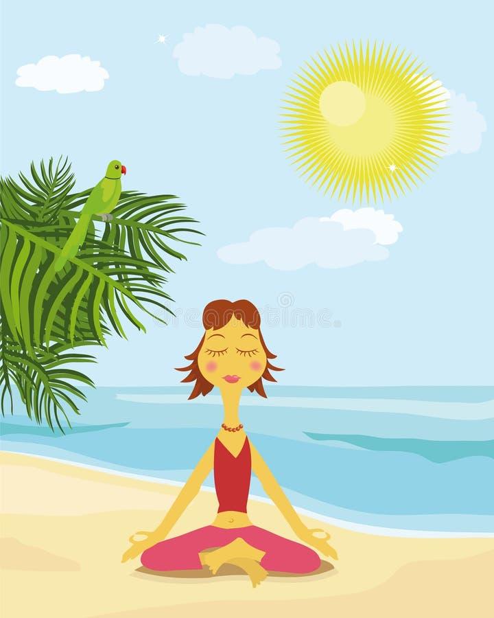 Mulher na praia ilustração do vetor