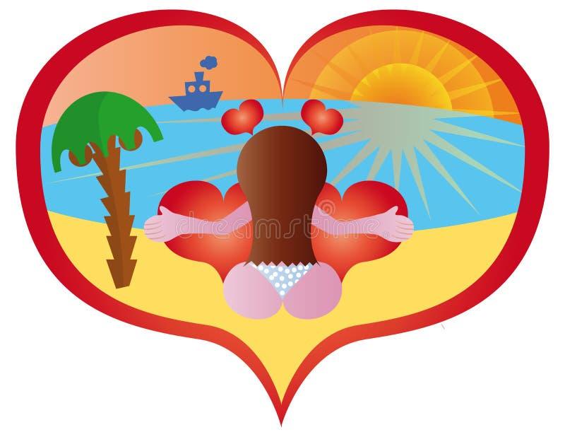 Mulher na praia ilustração royalty free
