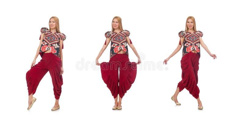 A mulher na roupa azerbaijana do ornamento isolada no branco fotos de stock