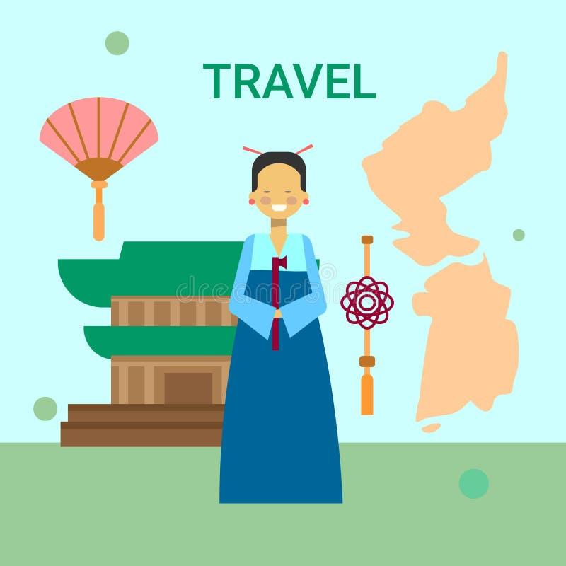 Mulher na roupa coreana tradicional sobre o mapa de Coreia e o fundo da construção do templo ou do palácio ilustração stock
