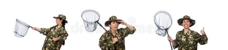 A mulher na roupa militar com rede de travamento fotografia de stock royalty free