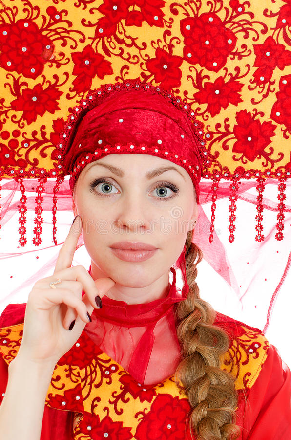 Mulher na roupa tradicional russian. imagens de stock royalty free