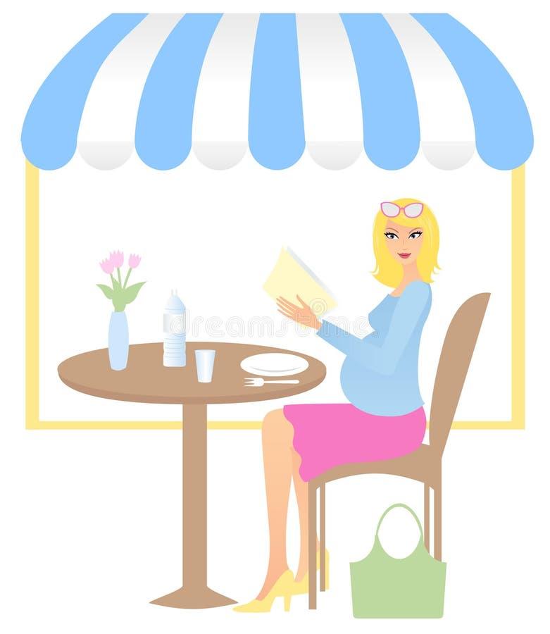 Mulher na sala de estar do café ilustração stock