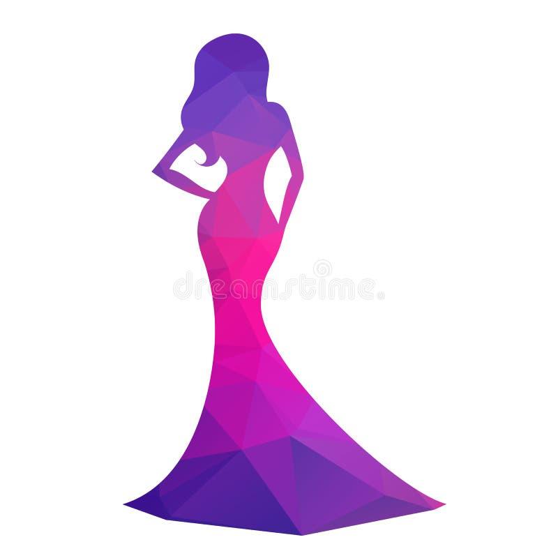 Mulher na silhueta do vestido de bola ilustração royalty free