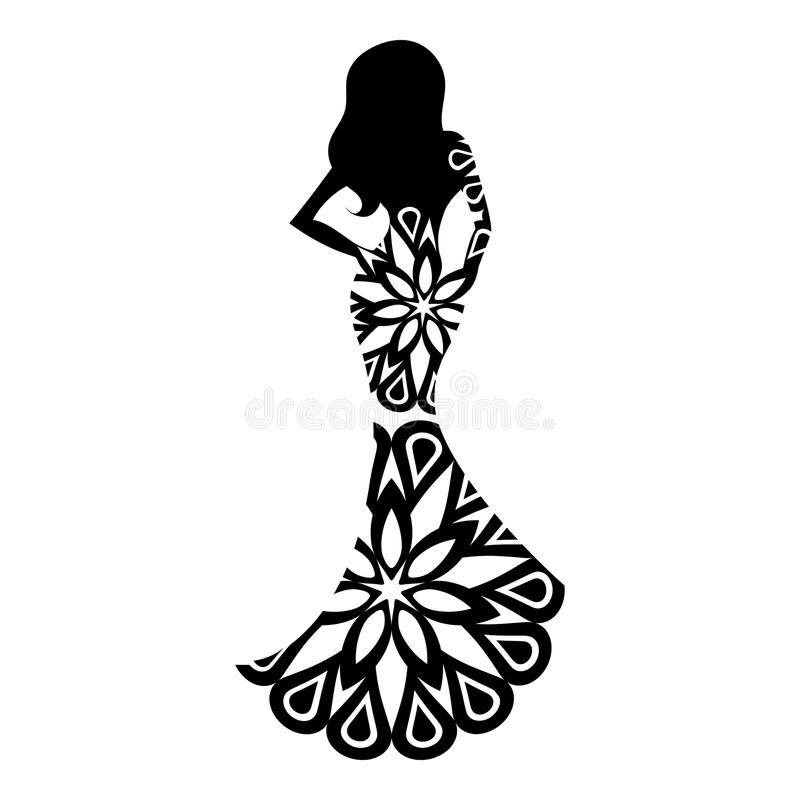 Mulher na silhueta do vestido de bola ilustração do vetor
