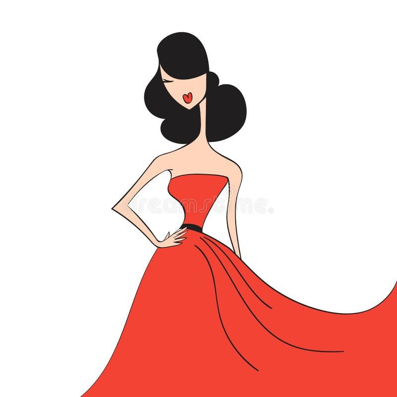Mulher na silhueta do vestido de bola ilustração stock