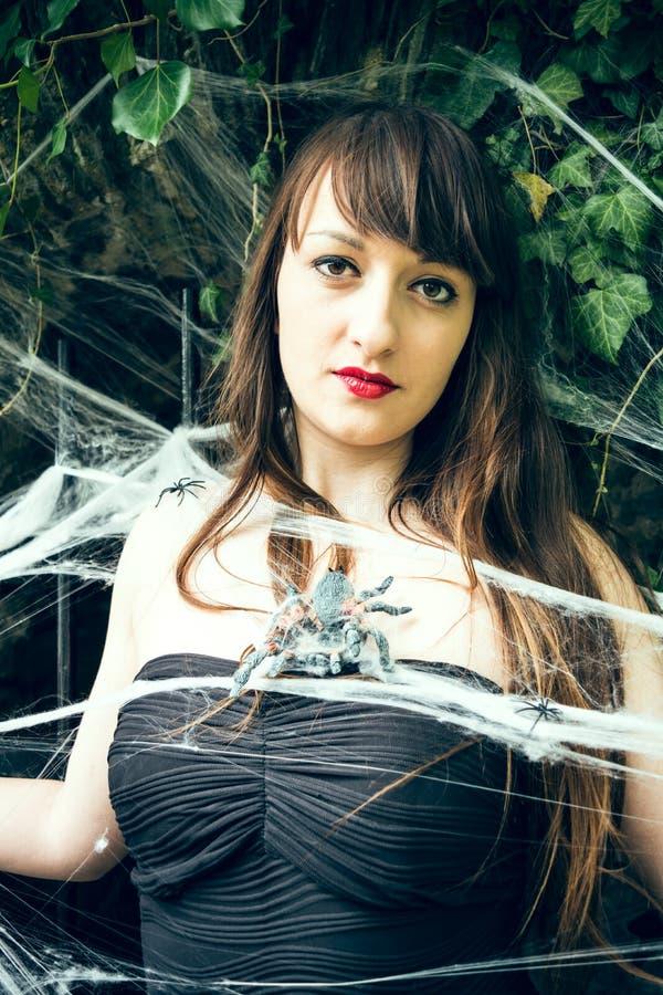 Mulher na teia de aranha imagens de stock