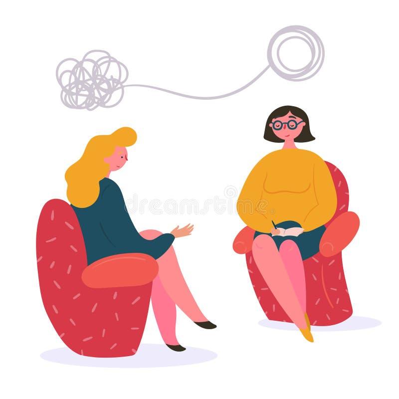 Mulher na terapia com psicólogo e terapeuta ilustração royalty free