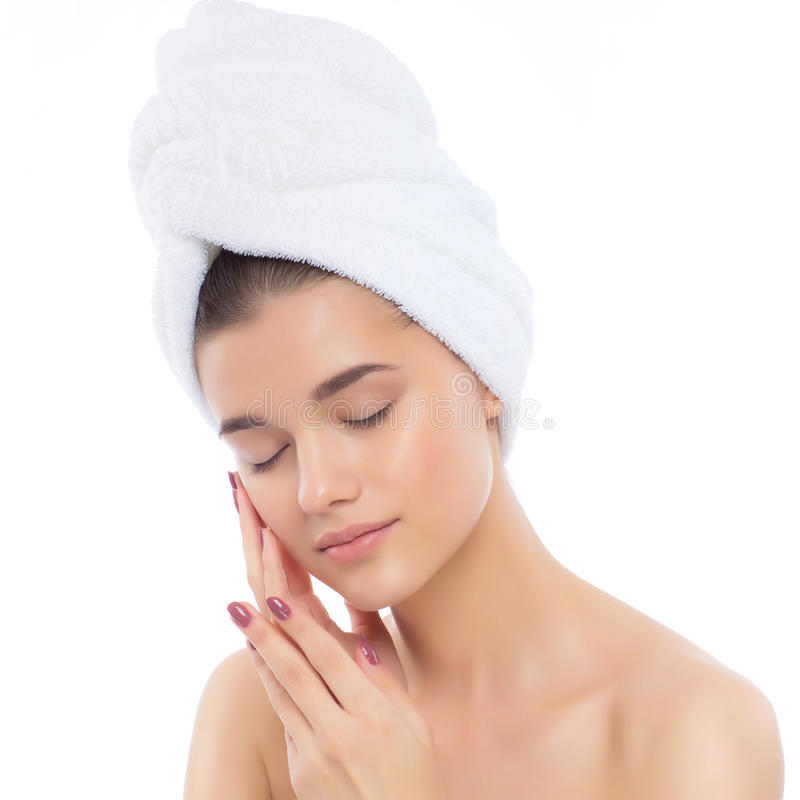Mulher natural bonita após procedimentos cosméticos, reforma da menina imagem de stock royalty free