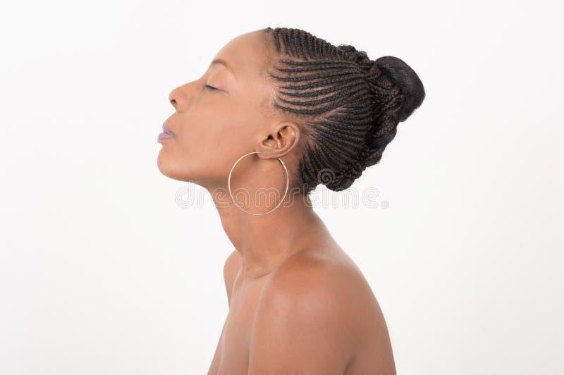 Mulher natural com pele e as tranças bonitas foto de stock royalty free