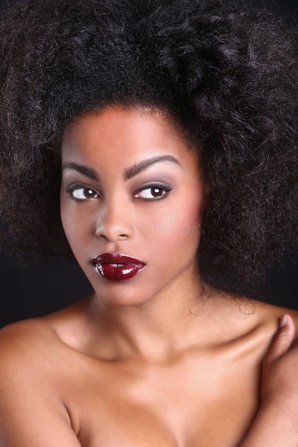 Mulher negra afro-americano bonita imagem de stock
