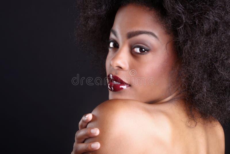 Mulher negra afro-americano bonita foto de stock