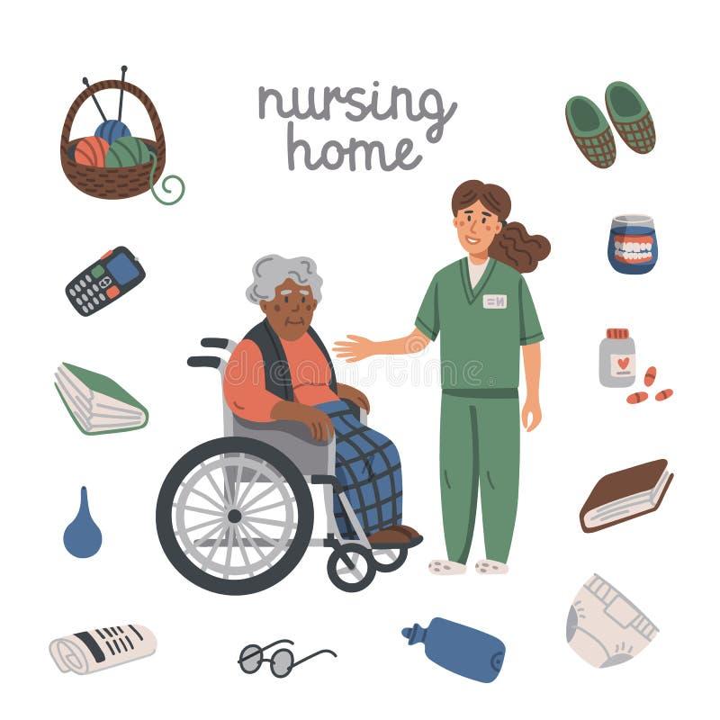 Mulher negra idosa na cadeira de rodas, na enfermeira nova e nos artigos do lar de idosos no fundo branco Assistente social que f ilustração royalty free