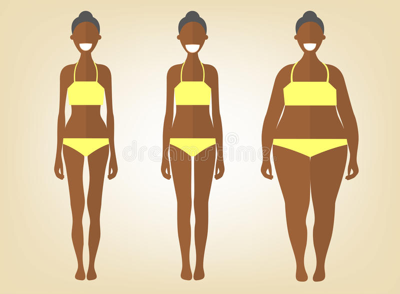 Mulher negra no formulários diferentes Grupo de ilustrações lisas do estilo Menina consideravelmente africana no roupa interior a ilustração do vetor