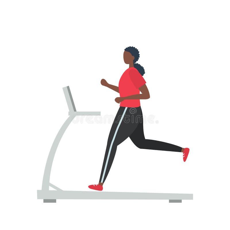 A mulher negra nova em um uniforme desportivo está correndo em uma escada rolante ilustração royalty free