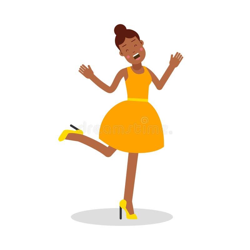 Mulher negra nova feliz na ilustração de riso do vetor do personagem de banda desenhada do vestido amarelo ilustração do vetor