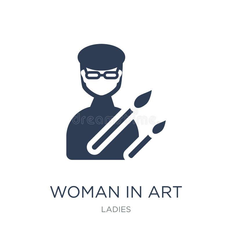 Mulher no ícone da arte Mulher lisa na moda do vetor no ícone da arte no branco ilustração stock