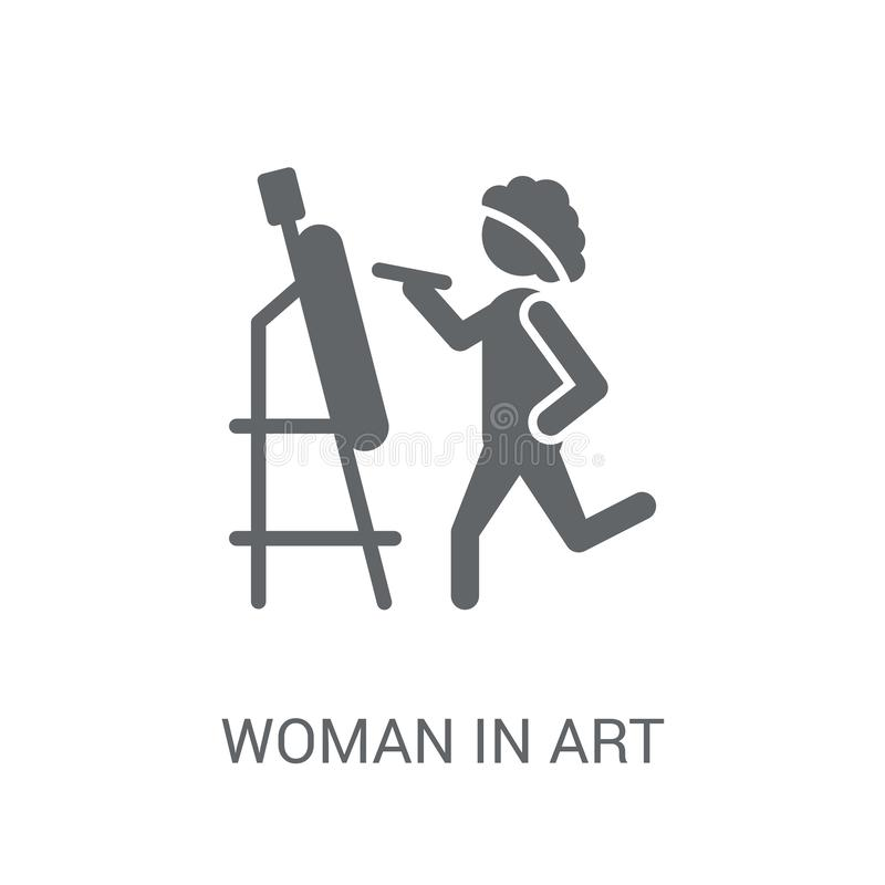 Mulher no ícone da arte Mulher na moda no conceito do logotipo da arte no CCB branco ilustração stock