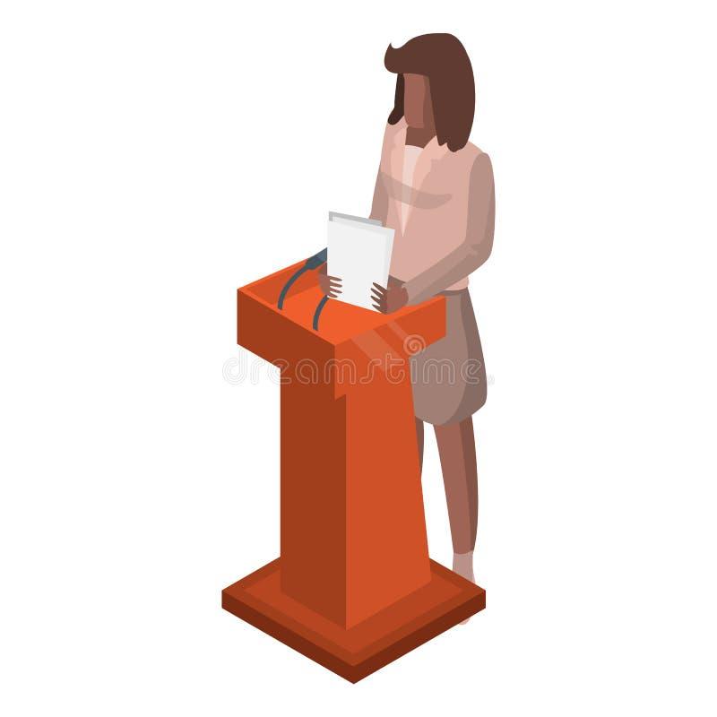 Mulher no ícone do debate político, estilo isométrico ilustração do vetor