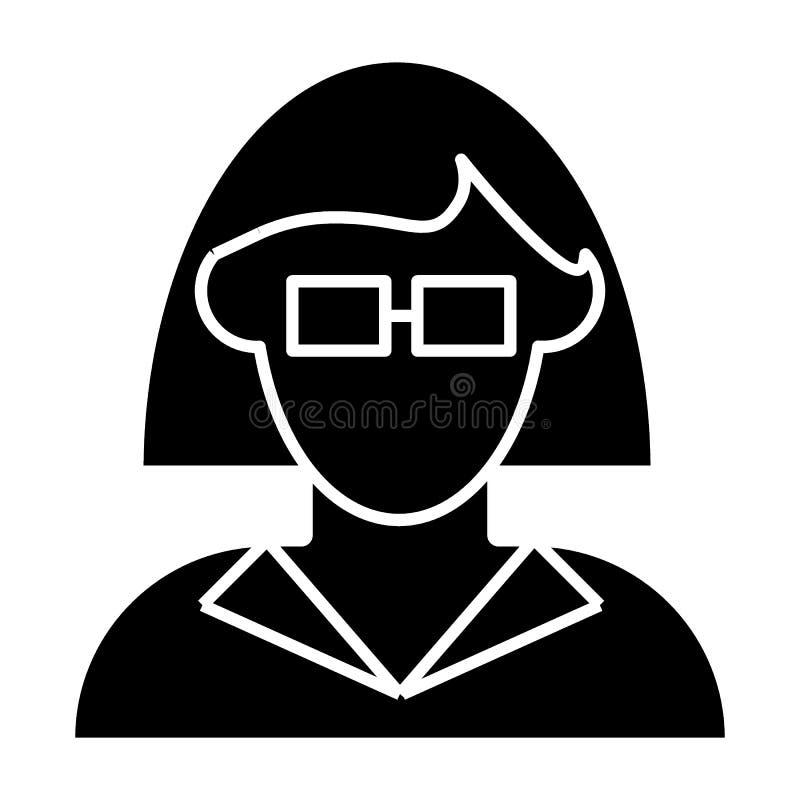 Mulher no ícone do sólido do avatar dos vidros Menina com a ilustração do vetor do cabelo do comprimento do ombro isolada no bran ilustração royalty free