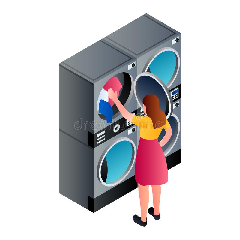 Mulher no ícone do serviço de lavanderia, estilo isométrico ilustração stock
