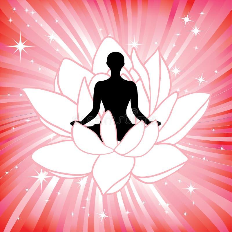 Mulher no asana da flor de lótus da ioga ilustração royalty free