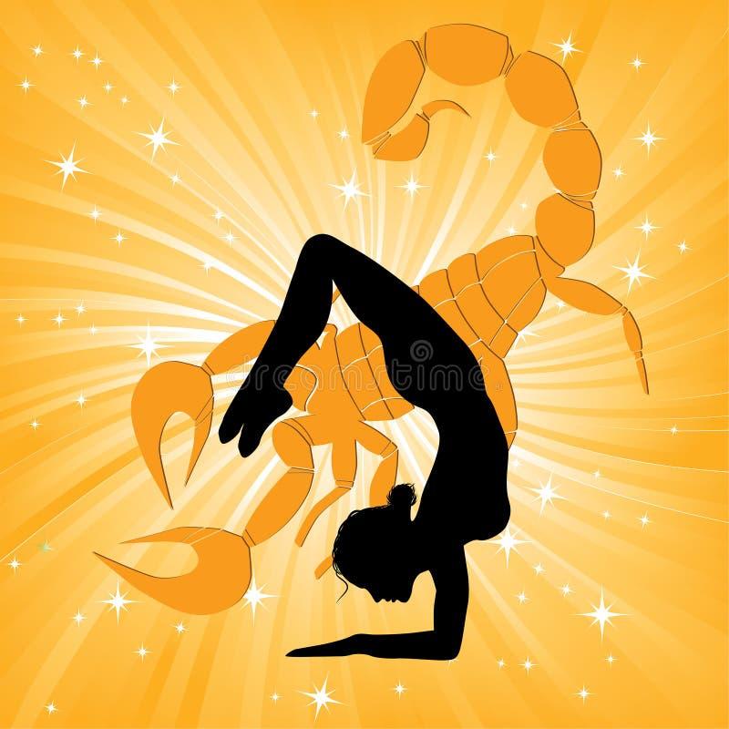 Mulher no asana do scorpio da ioga ilustração royalty free