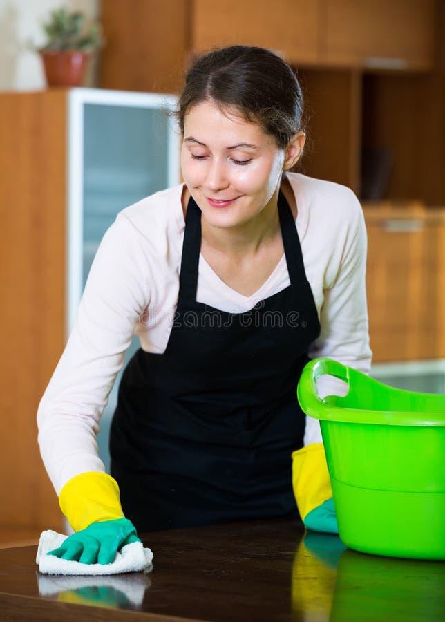 Mulher no avental que limpa em casa fotos de stock royalty free